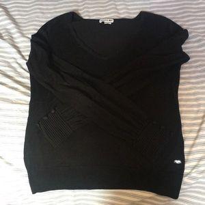 Lacoste thin black v neck sweater w cuffed sleeve